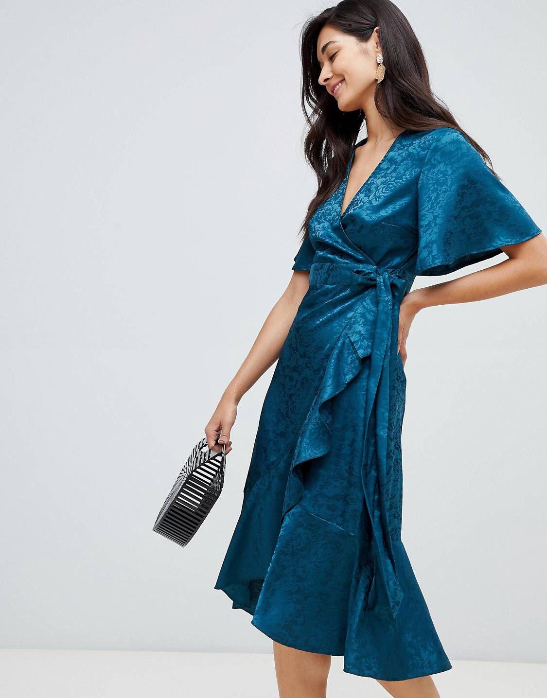 y.a.s – mini-wickelkleid in blau aus satin mit blumen
