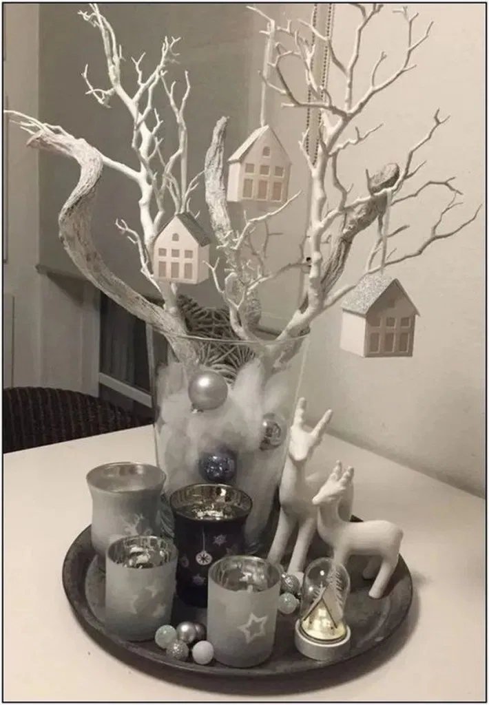 24 Charming White Christmas Decor Ideas On A Budget Page 10 Christmas Table Decorations Centerpiece Affordable Christmas Decorations Christmas Table Decorations