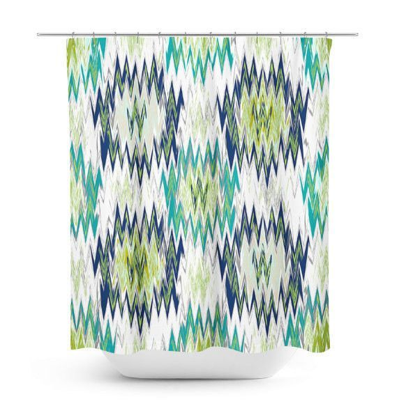Shower Curtain, Bathroom Decor, Bath Curtain, Zig Zag Teal Navy Green White Grey