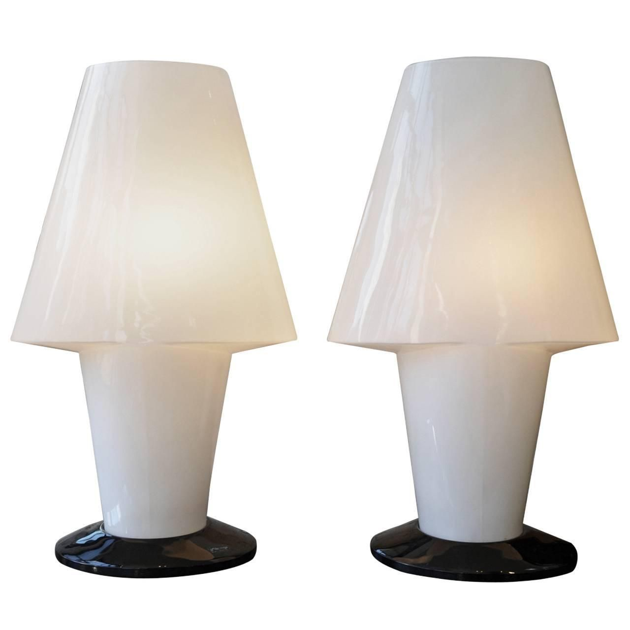 Pair of vintage italian murano table lamps by a v mazzega pair of vintage italian murano table lamps by a v mazzega mozeypictures Gallery