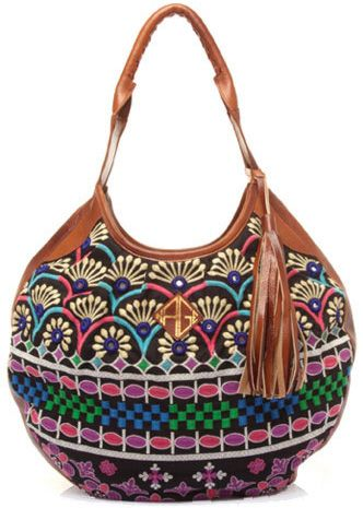 Kage Handbags Embroidered Tassel Hobo With Multi Color Embroidery And Sadle Leather Trim
