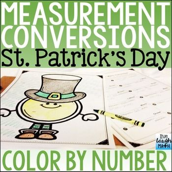 St. Patrick's Day Math Color By Number pictures are a fun and easy way to review measurement conversions. Keep students learning and having fun with this no-prep St. Patrick's Day math option to review finding converting to different units in the same measurement system!