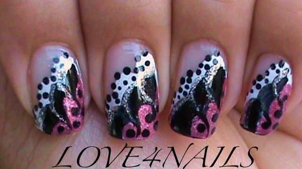 Pink And White Gel Nails | Nail Art Gallery - PINK BLACK & WHITE DOTS &  SWIRLS - Pink And White Gel Nails Nail Art Gallery - PINK BLACK & WHITE
