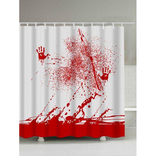 Blood Splatter Print Waterproof Bathroom Shower Curtain   You ...