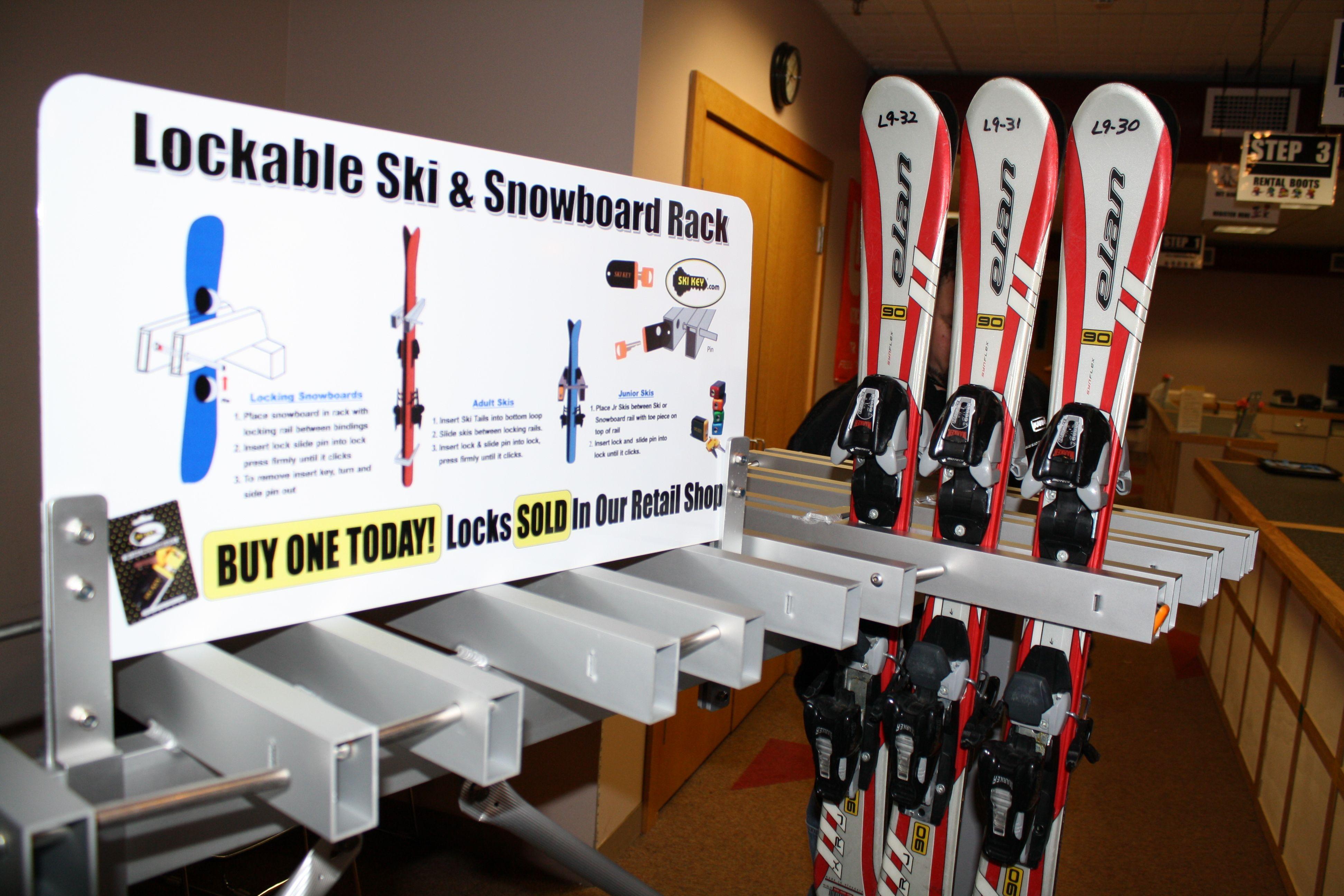 Multiple Junior Skis Locked In Snowboard Section Rail Ski Snowboard Snowboard Skiing