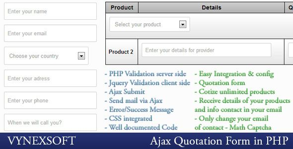 PHP Ajax Quotation Form Code-Scripts-and-Plugins Pinterest - quotation form