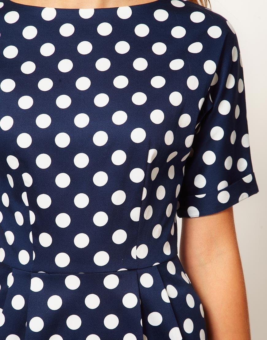 Asos Asos Pencil Dress In Wiggle Shape And Spot Print At