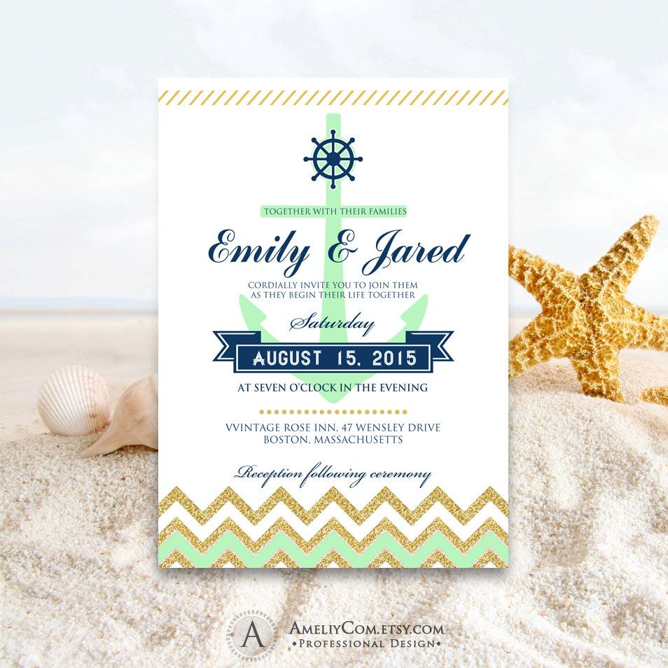 Just In Nautical Weddings Invitation Printable Mint Green Navy