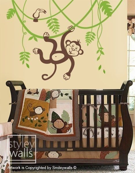 Jungle Monkey Swinging on a Vine and Cute Toucan -LARGE Vinyl Wall ...