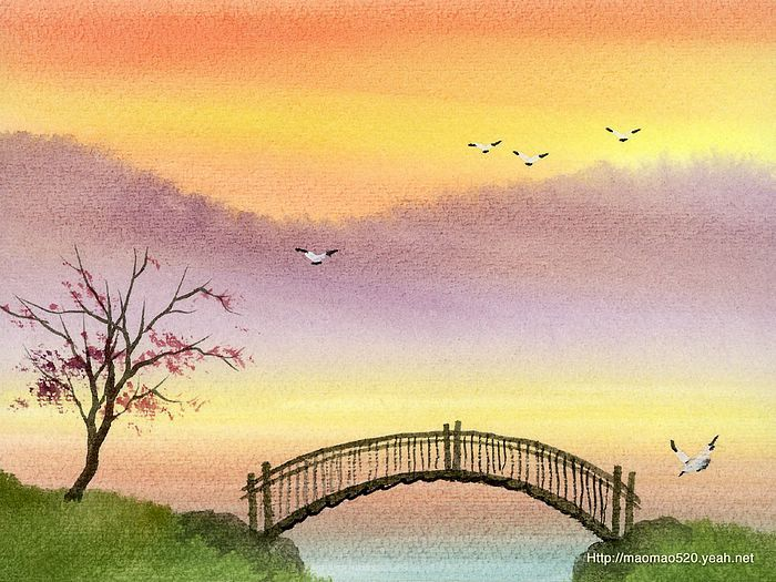 Easy Watercolor Paintings Paintings Peaceful Rural Scene