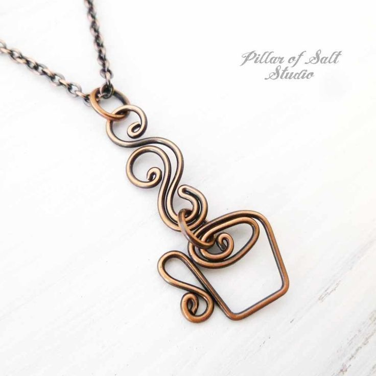 Photo of Coffee Mug Necklace – Steaming Cup wire wrapped copper necklace