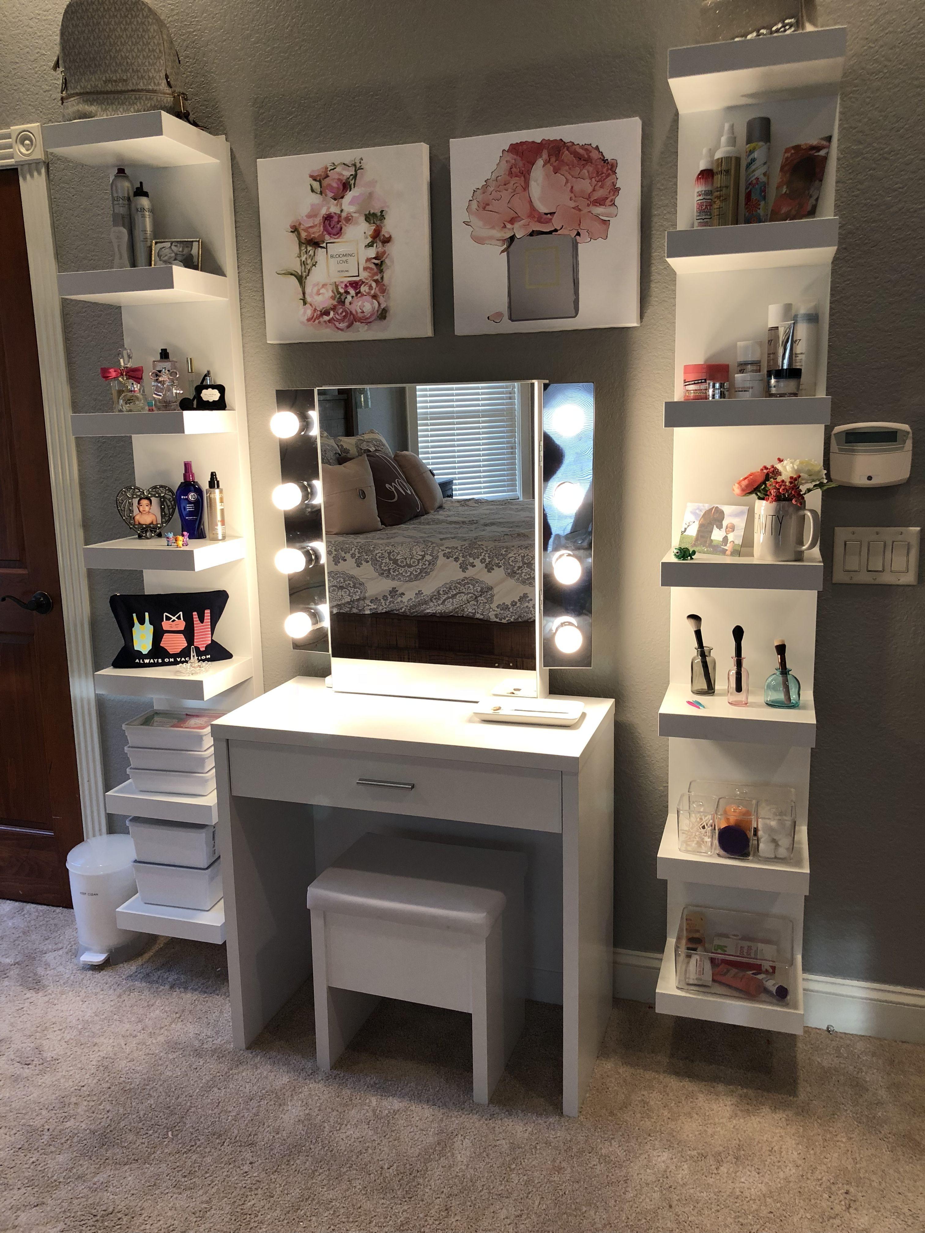 Makeup vanity  Chambre deco ado, Déco chambre ikea, Decor chambre