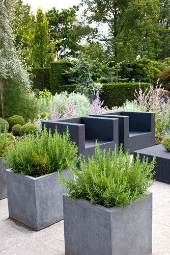 modern garden and traditional combined