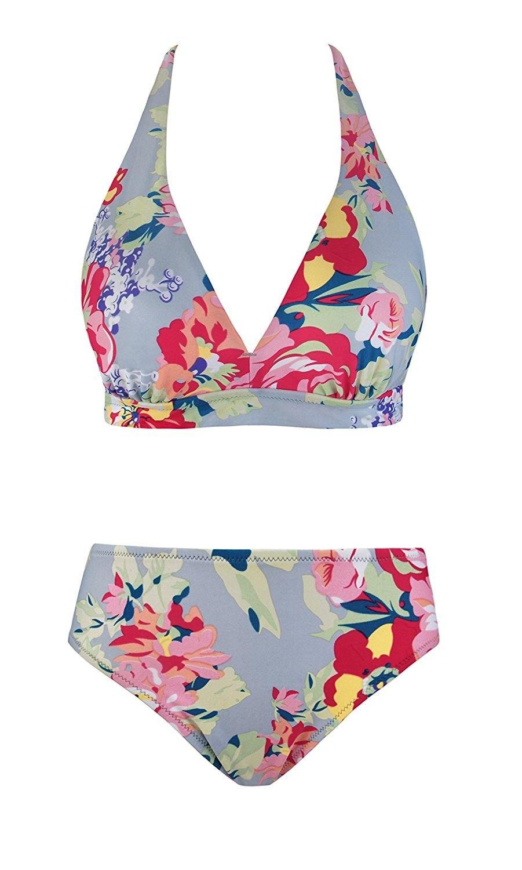 f19062211 Womens Sexy Halter Bikini Boho Floral Printed Two Piece Swimsuits ...