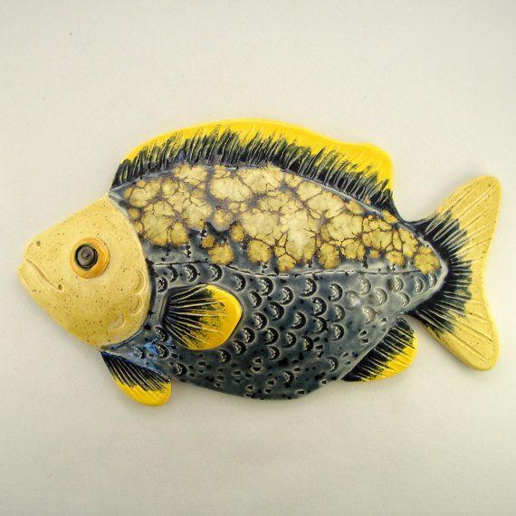 Blue with yellow cristals glaze Ceramic fish wall by WisperOn ...