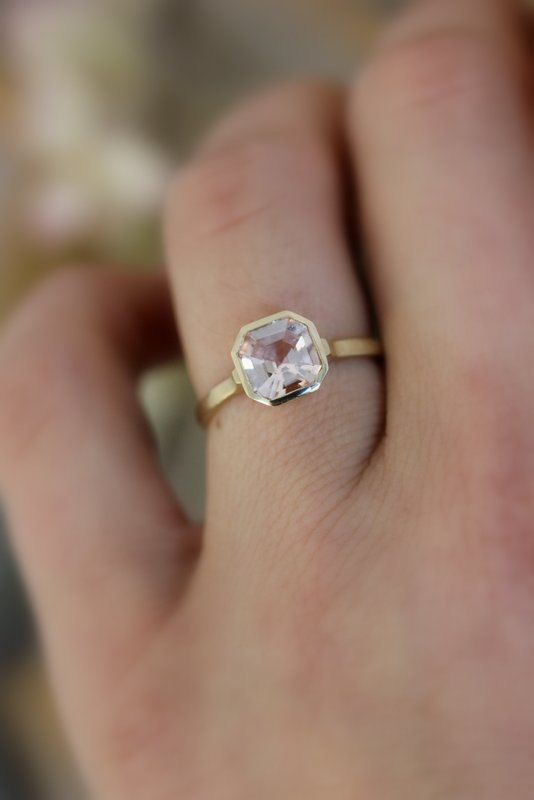 Morganite Gemstone Ring Asscher Cut Morganite In 14k Yellow Gold