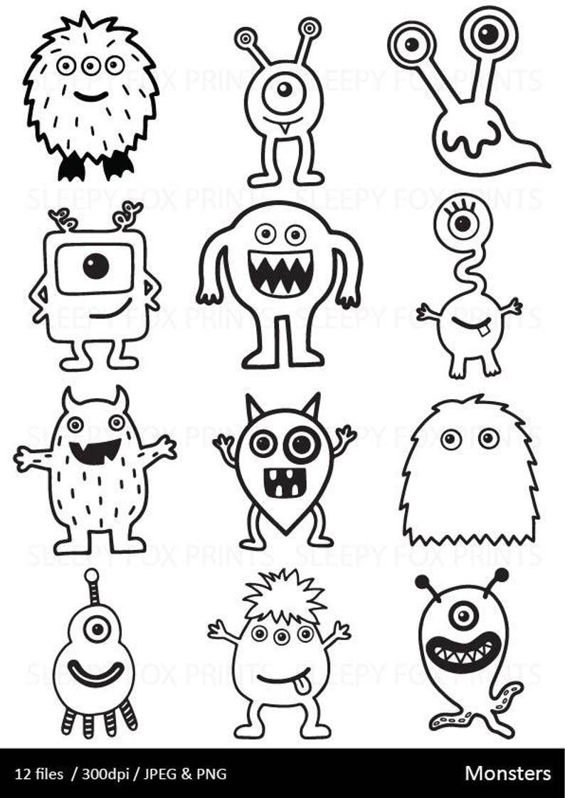 Simple Monster Drawing : simple, monster, drawing, Monsters, Clipart,, Black, White,, Monster, Halloween,, Boys,Monster,Cute,, Drawn,, 3for2,, Monsters,Monster, Party,, Doodle