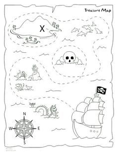 picture relating to Treasure Map Printable identified as Do it yourself treasure map printable Social gathering tips Pirate treasure