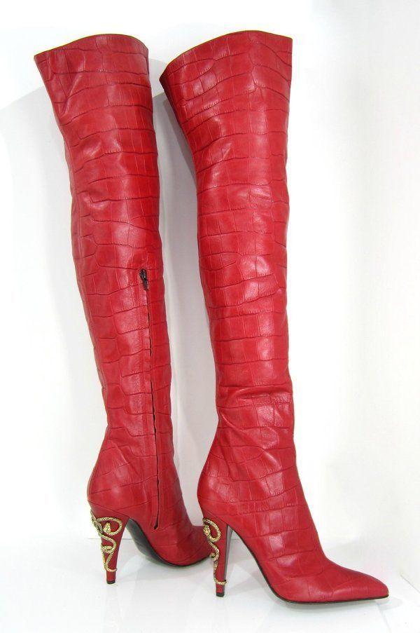 ROBERTO CAVALLI Lipstick RED THIGH HIGH Croc SNAKE CHARM High Heel Boots 40 9 #RobertoCavalli #FashionOvertheKnee