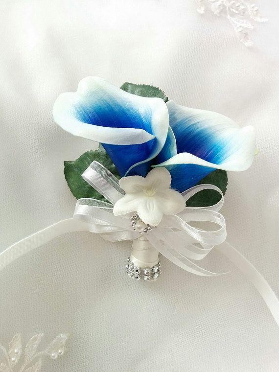 Wedding Natural Touch Blue Picasso Calla Lilies Corsage Silk