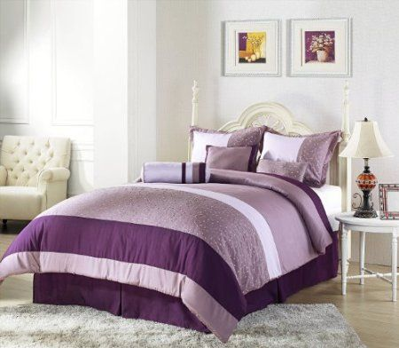 Amazon.com: Chezmoi Collection 7 Pieces Purple Lavender Embroidery Comforter Set Bed-in-a-Bag for Queen Size Bedding: Home & Kitchen