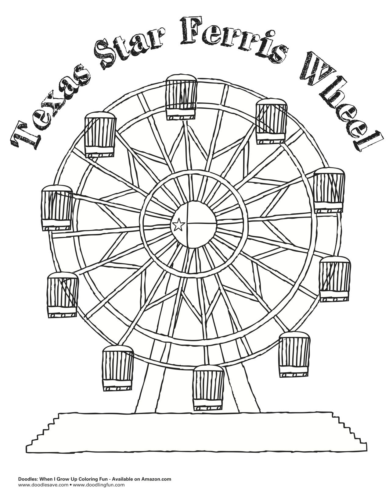 The Texas Star Ferris Wheel The Largest In North America Flag Coloring Pages Coloring Pages Shopkin Coloring Pages