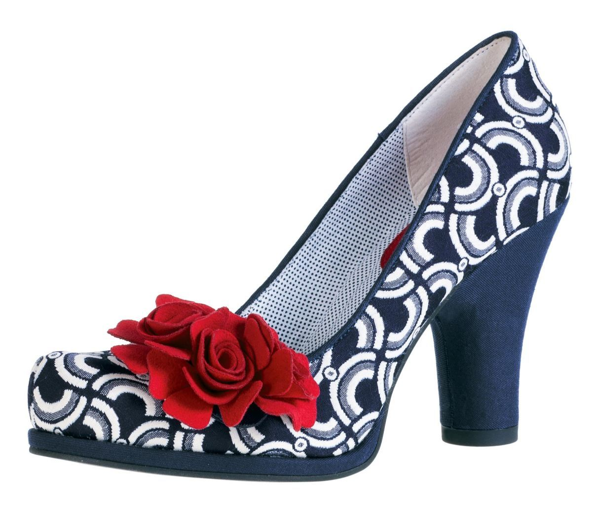 46ce59579cd Ruby Shoo Eva Navy Blue Pattern Flower Court Shoes | shoes | Shoes ...
