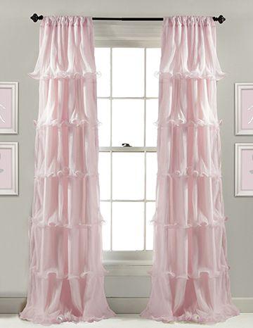 Sheer floor length pink ruffled curtains for a baby girl nursery ...