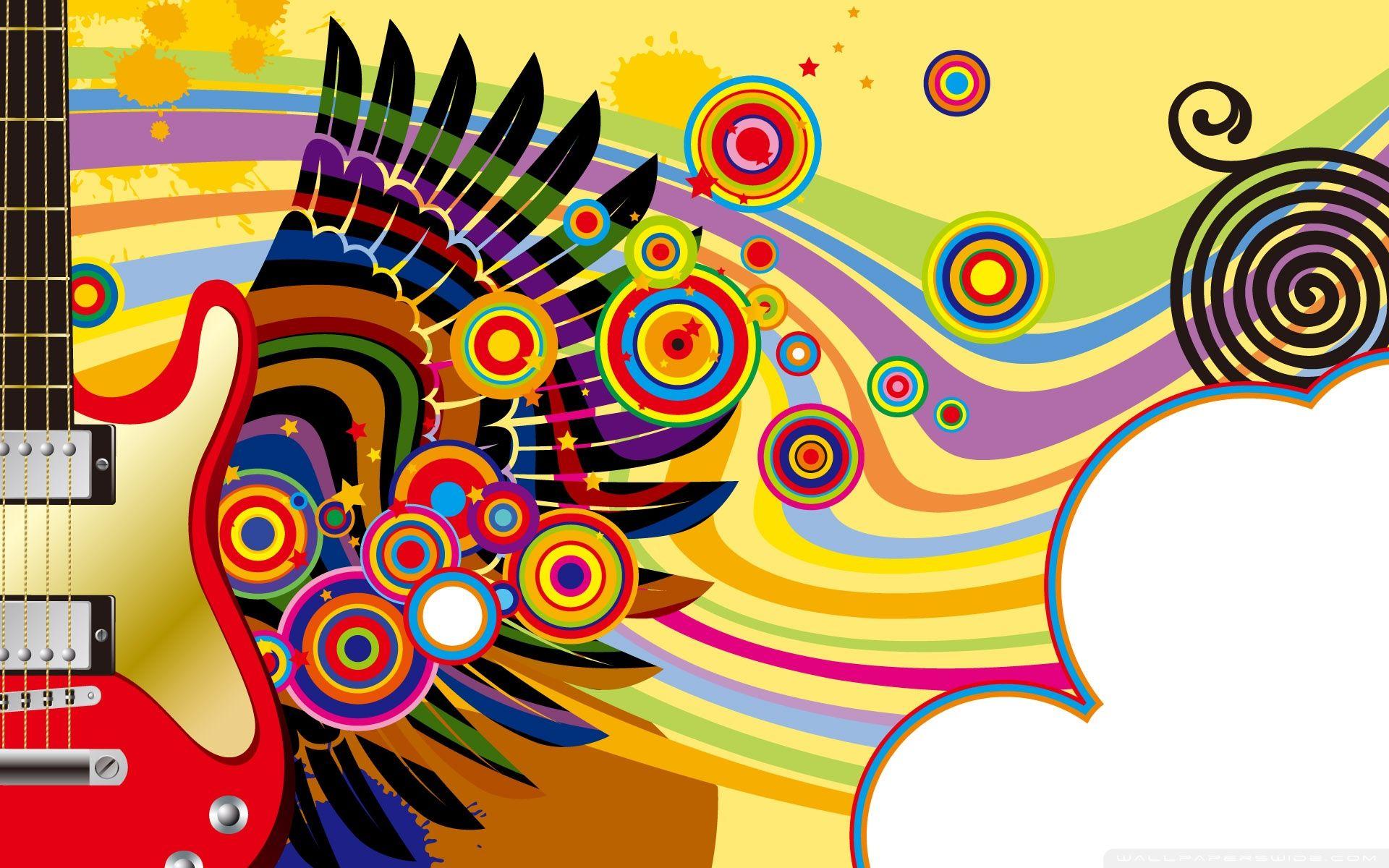Download Colorful Guitar HD Wallpaper Art, Music