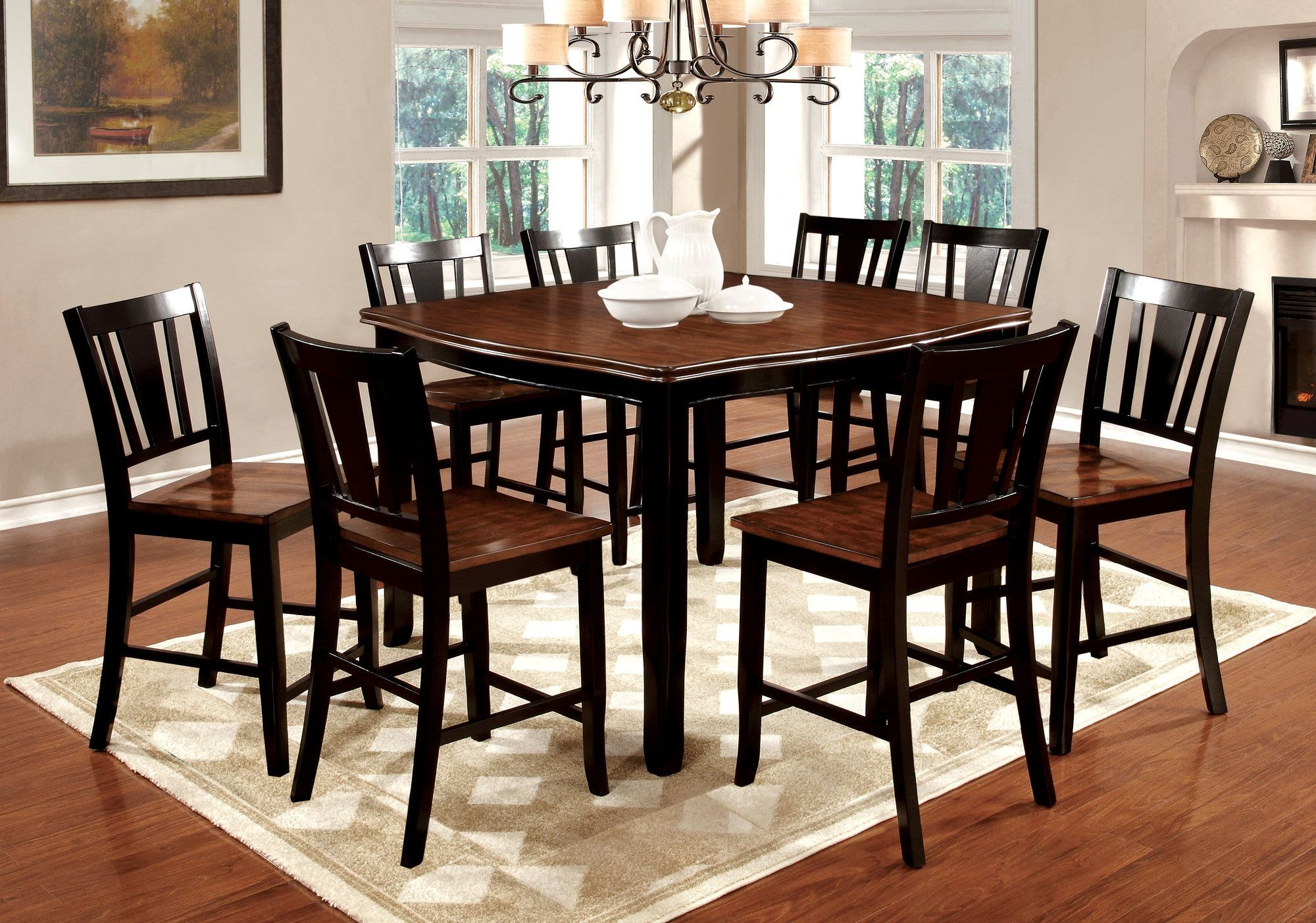 Bon Furniture Of America Lohman 9 Piece Counter Height Dual Tone Dining Table  Set   That Luxurious Dining Room Youu0027ve Been Dreaming About Is Here.