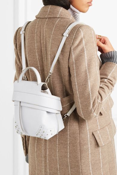 85ab615d6cf5 Tod s - Wave Mini Embellished Textured-leather Backpack - White ...