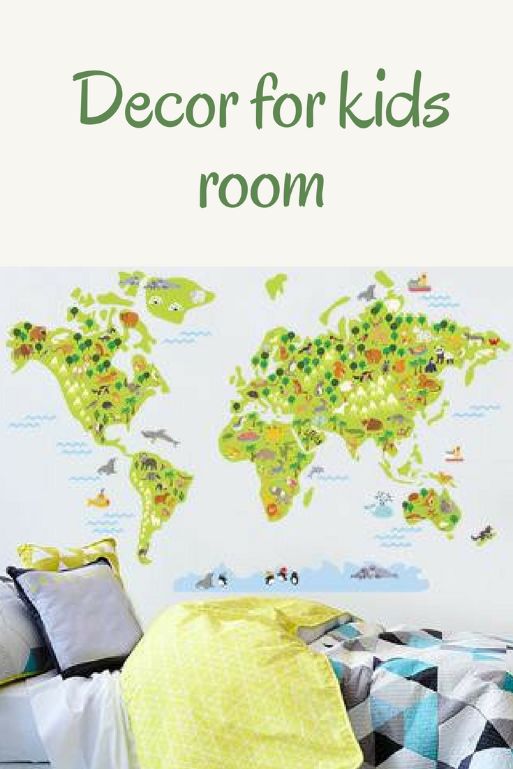 World Map Wall Decal World Map For Kids World Map Sticker For Kids