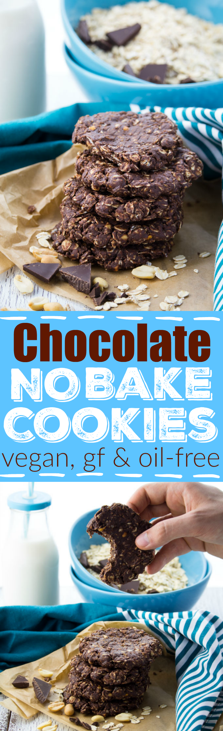 These chocolate peanut butter no bake cookies without milk are perfect when you feel like having a little treat and don't have enough time for real baking!