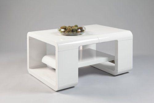 Couchtisch Mandy 90\/120 cm ausziehbar MDF Weiß Hochglanz - wohnzimmertisch hochglanz weiß