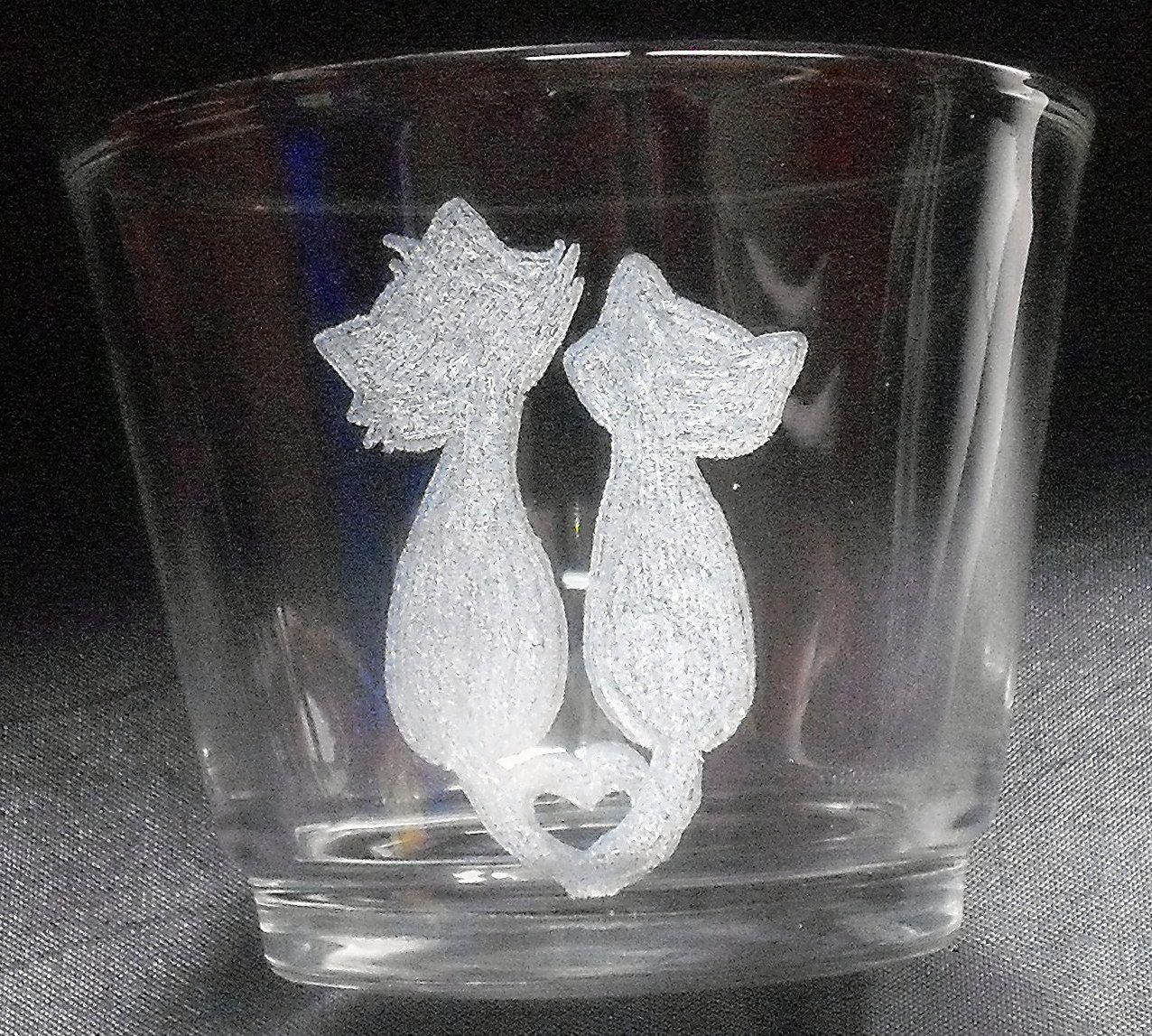 Gravures Sur Verre à couple de chats amoureux. gravure sur verre | mes réalisations
