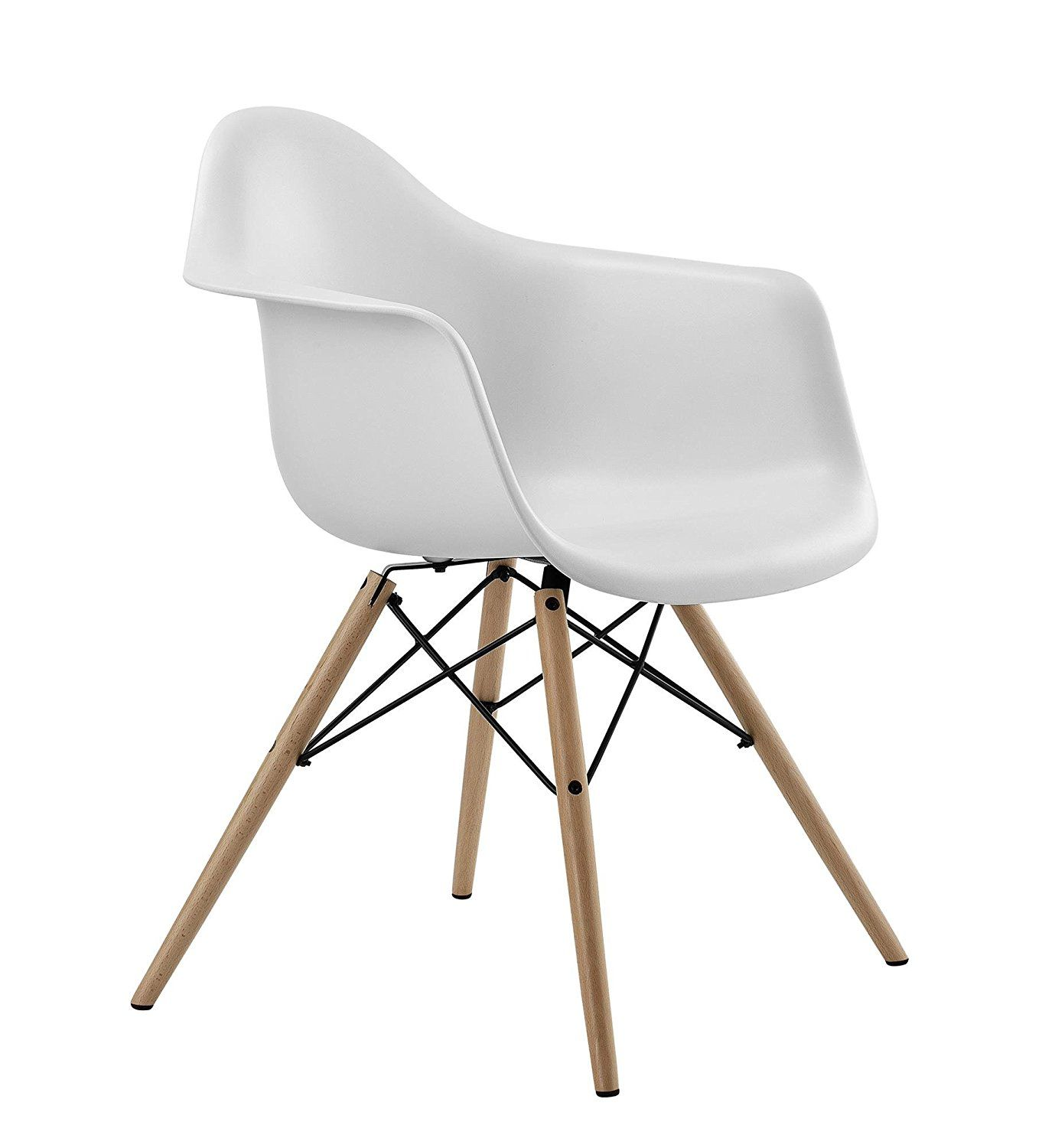 Amazon Com Dhp Mid Century Modern Chair With Molded Arms And Wood
