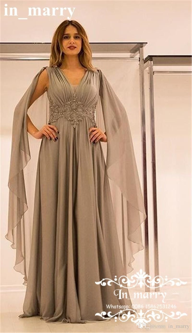 34ca625943 Sexy Grey Plus Size Mother of the Bride Dresses 2017 A Line V-Neck Lace  Appliques Long Ruched Chiffon Illusion Back Formal Evening Gowns