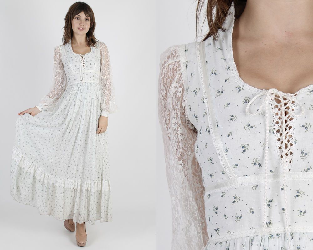Vintage s gunne sax dress bohemian wedding blue floral lace hippie