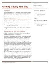 Standard 4 5 Clothing Industry Facs Exploration Lesson Plans Pinterest School