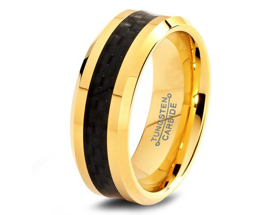 Man Wedding Band Tungsten Carbon Fiber Black 18K Yellow Gold Ring