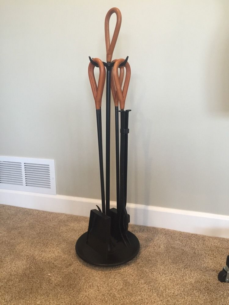 Mid Century Modern Carl Aubock Eames Era Leather Wrapped Fireplace Tools Fireplace Tools Fireplace Poker Modern Fireplace