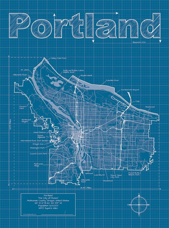 Portland map original artwork portland blueprint wall art modern graphic design and traditional blueprint style come together to create these original artwork maps highlights include streets highways malvernweather Gallery