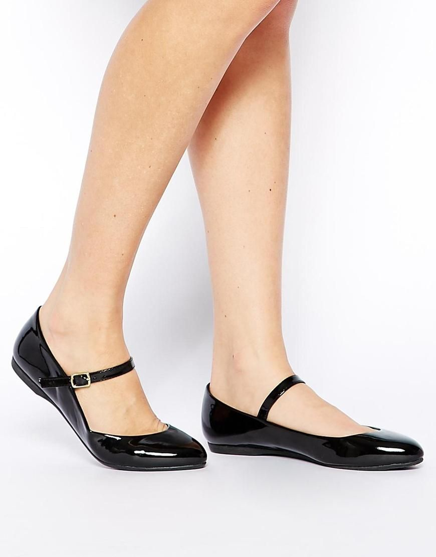 New Look | New Look Jeanette Black Mary Jane Flat Shoes at ...