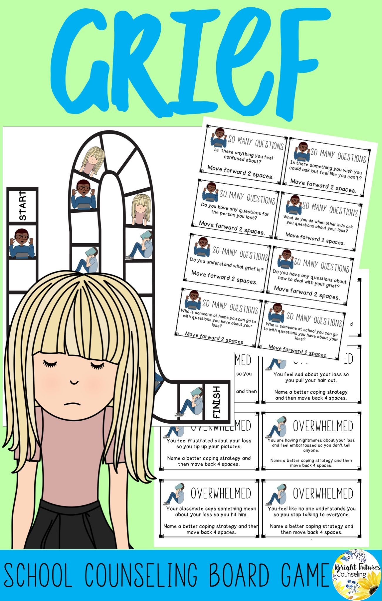 Grief Board Game School Counseling Game Grief Game