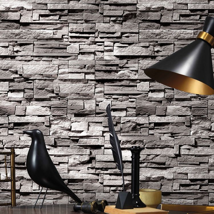 Realistic Vintage 3D Effect Grey/Earth Yellow Brick Wall