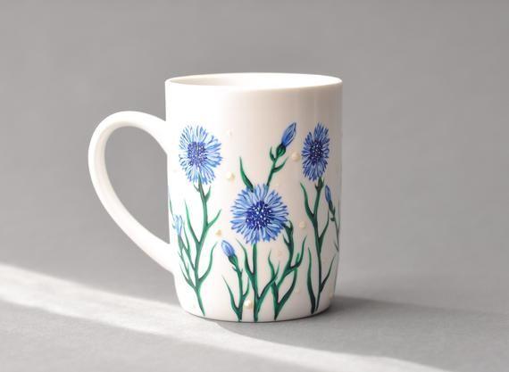 Hand Painted Coffee Mug With Cornflowers Ceramic Coffee Mug Etsy In 2020 Painted Coffee Mugs Hand Painted Mugs Painted Mugs