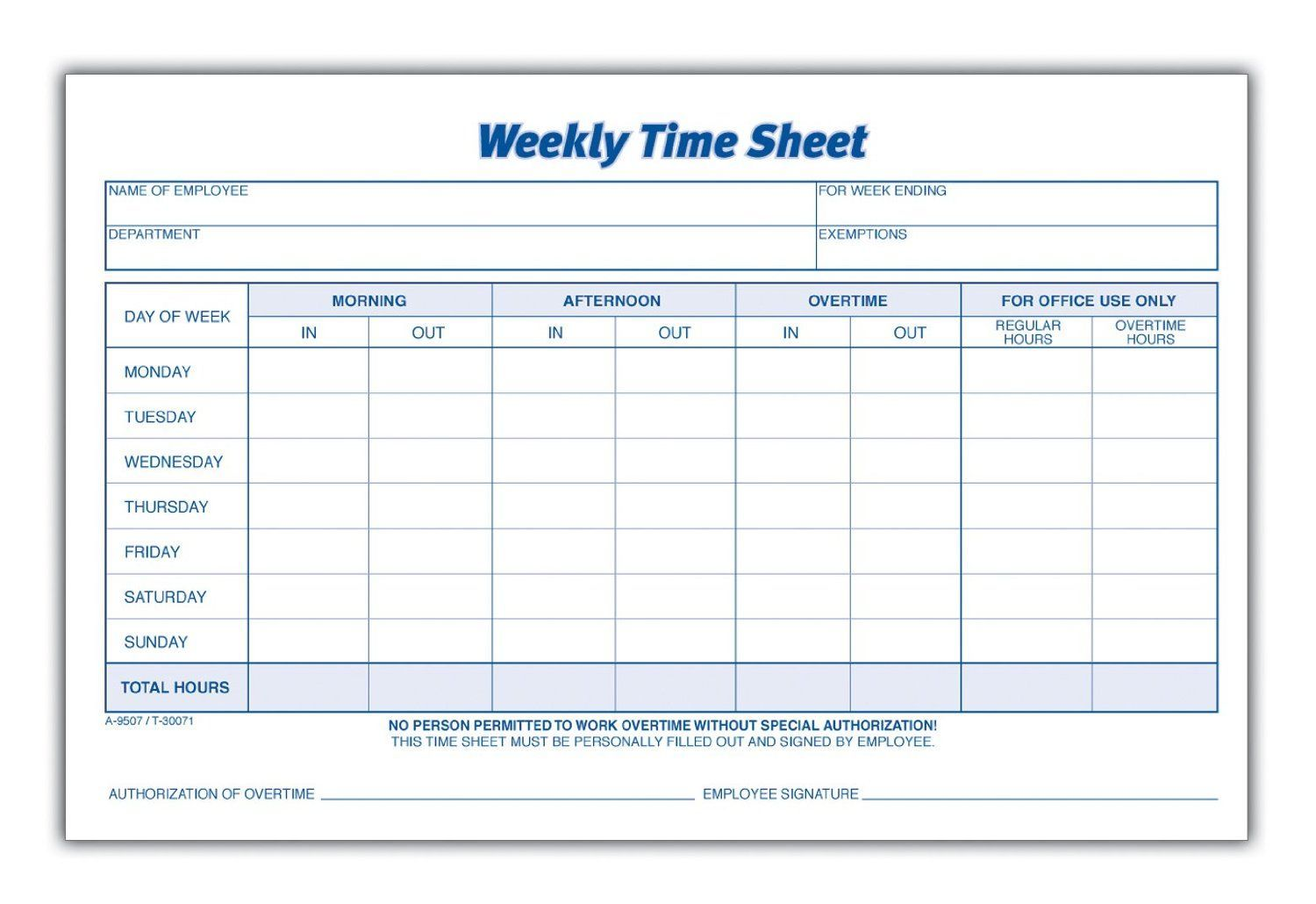 Weekly Time Card Template Free
