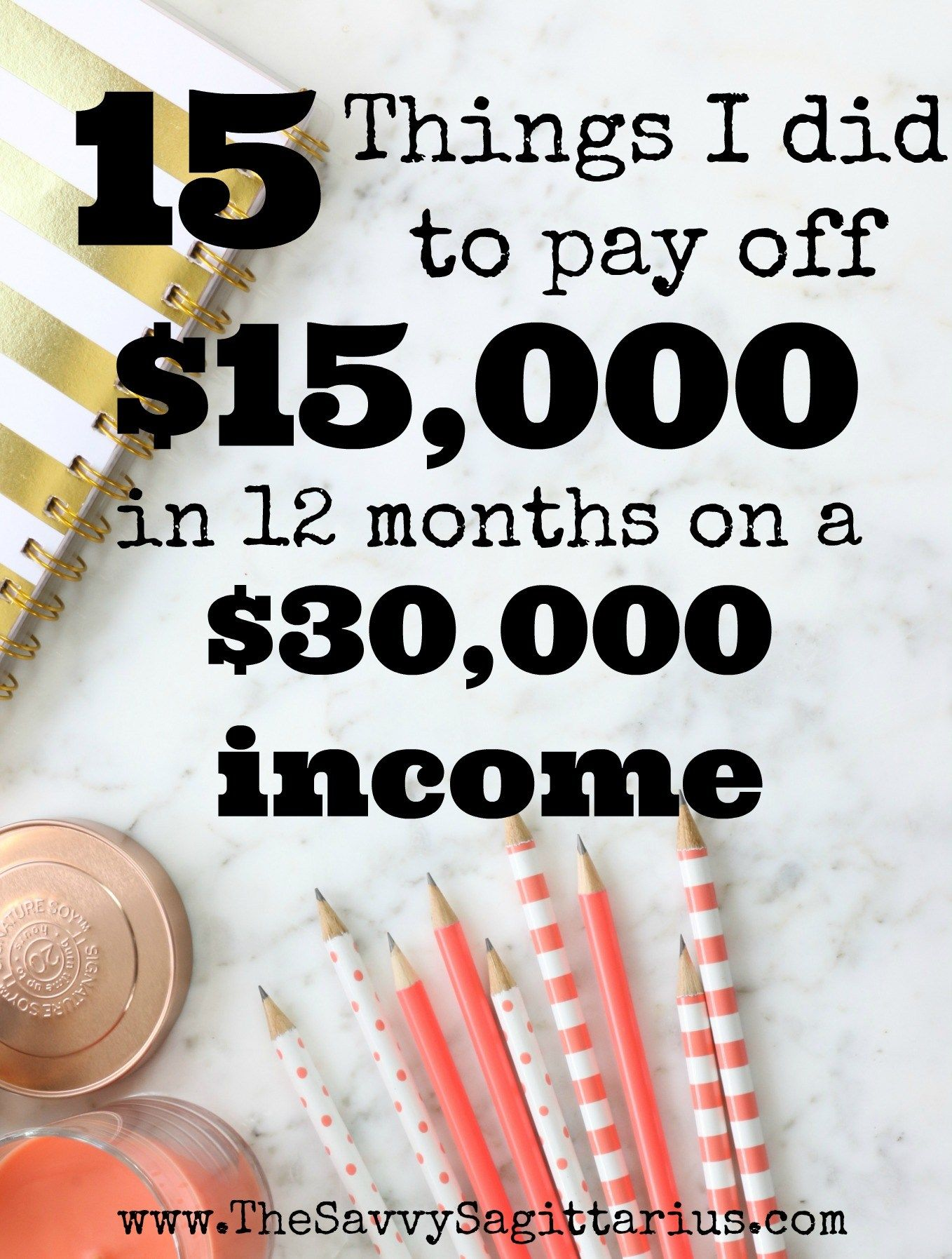 15 Things I Did To Pay off $15,000 on a $30,000 Annual Income 15 Things I Did To Pay off $15,000 on a $30,000 Annual Income