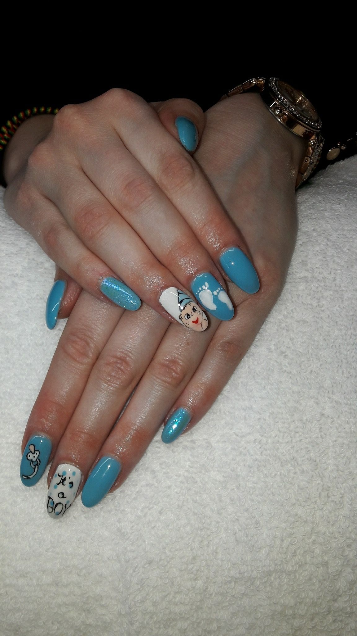Baby Shower Nails Its A Boy Baby Boy Nail Art Babyface Blue Krm