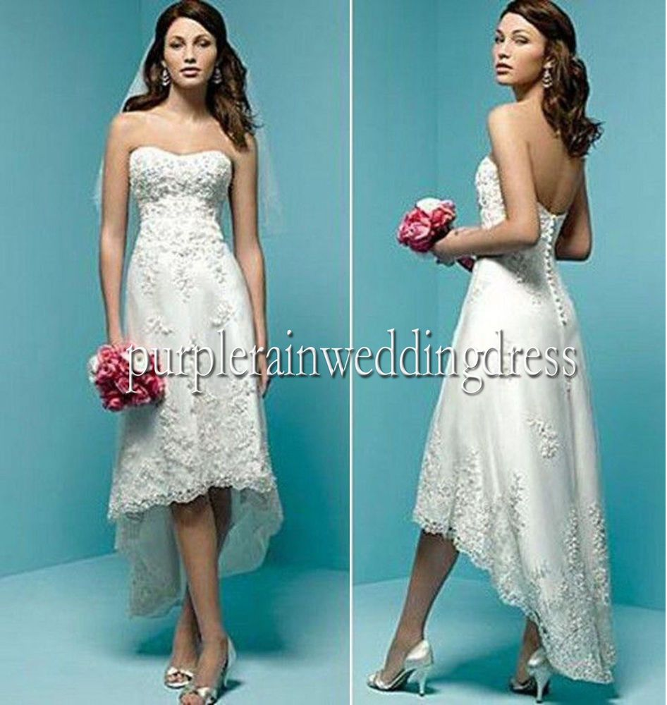 White Lace short front long back Beach wedding dress Bridal Gown ...